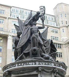 monument to Admiral Horatio Nelson, in Exchange Flags, Liverpool, England