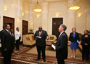 Tanzania–United States relations - Ambassador Mark B. Childress presenting his credentials to President Kikwete.