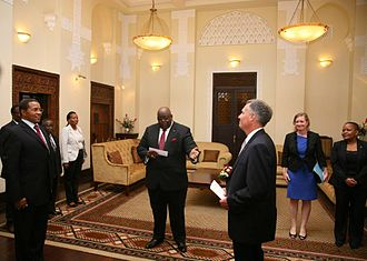 Tanzania–United States relations - Ambassador Mark B. Childress presenting his credentials to President Kikwete.