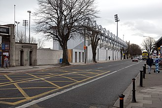 Rugby union in Ireland - outside of Donnybrook Stadium in Dublin.