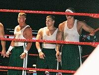 Nick Nemeth, Michael Brendli, and Ken Doane during a tag team match.jpg