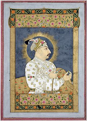Nidha Mal Jharokha portrait of Muhammad Shah holding an emerald and the mouthpiece of a huqqa ca. 1730 The San Diego Museum of Art.jpg