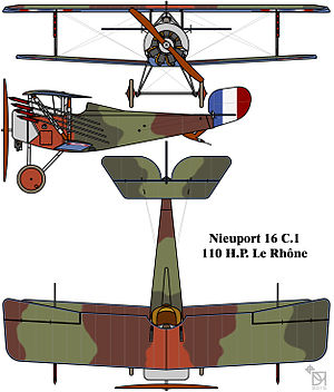 Aircraft camouflage - Disruptively patterned French Nieuport 16