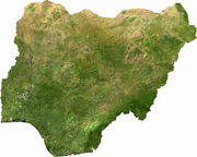 Satellite image of Nigeria, generated from raster graphics data supplied by The Map Library