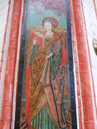 Saint Apollonia - Fresco of Saint Apollonia (St. Nicholas Church, Stralsund).