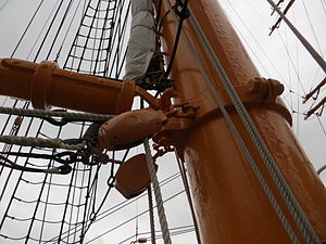 Gooseneck - Gooseneck swivel on jigger-mast of Nippon Maru sail training vessel in Yokohama harbor