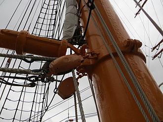 Gooseneck - Gooseneck swivel on jigger-mast of Nippon Maru sail training vessel in Yokohama harbor