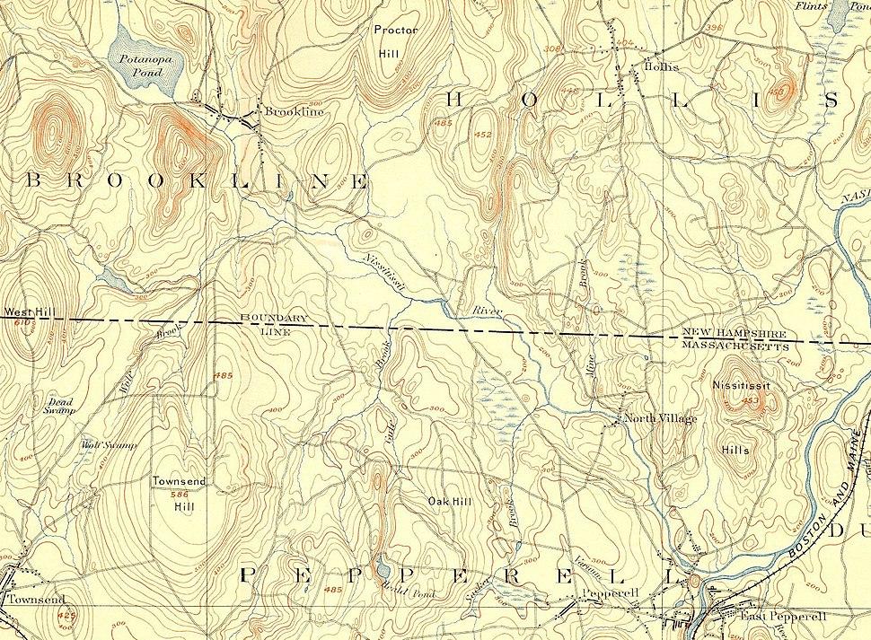 Nissitissit River (New Hampshire + Massachusetts) map