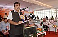 Nitin Gadkari addressing at the foundation stone laying ceremony for the four laning of Thiruvananthapuram bypass, at Kazhakkoottam, in Thiruvananthapuram on September 01, 2015.jpg