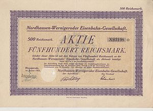 Nordhausen-Wernigerode Railway Company - Share of the Nordhausen-Wernigeroder Eisenbahn-Gesellschaft, issued January 1925
