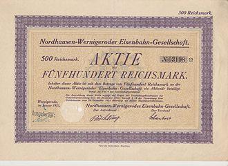 Nordhausen-Wernigerode Railway Company - Share of the Nordhausen-Wernigeroder Eisenbahn-Gesellschaft, issued January 1925