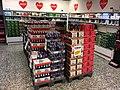 "Norwegian ""Christmas soda"" and beers (Ringnes, Aass julebrus, lettjulebrus, Frydenlund IPA, julecider, Heineken, etc.) in freezer chiller showcase shelves at Spar Supermarket in Tjøme, Norway. God jul = Happy Xmas. 2017-12-05.jpg"
