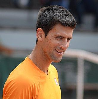 2016 Novak Djokovic tennis season - A close up of Djokovic in Paris (2015).