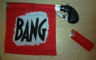Onomatopoeia - A bang flag gun, a humouristic novelty item