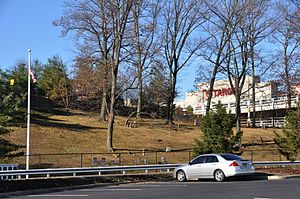 Palisades Center - The Mount Moor Cemetery; parking lots are before and behind it, and the mall is visible to the right.