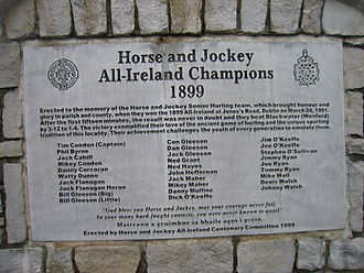 1899 All-Ireland Senior Hurling Championship Final - Commemorative plague in Horse and Jockey