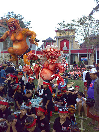 Nyepi - The last day of the year includes processions of Bhuta (demons, above), followed by Nyepi, the festival of silence.