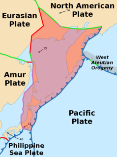Minor tectonic plate including the Sea of Okhotsk, the Kamchatka Peninsula, Sakhalin Island and Tōhoku and Hokkaidō in Japan