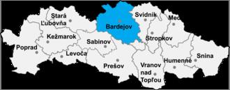 Zborov, Bardejov District - Location of Bardejov District in the Presov region