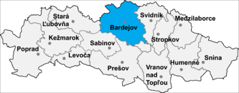 Location of Bardejov District in the Nitra region