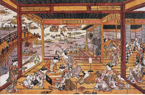Uki-e - Taking the Evening Cool by Ryōgoku Bridge (1745), Okumura Masanobu This early example of an uki-e print uses Western-style perspective for the interior, but more traditional Japanese technique for the exterior.