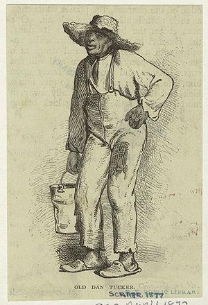Old Dan Tucker - This 1877 illustration from Scribner's Magazine shows the Dan Tucker character as a rural black man.