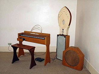 "Amnesiac (album) - The ondes Martenot, an early electronic instrument, was used on ""Pyramid Song"". Its resonating palme diffuseur loudspeaker (pictured centre) was used to treat the vocals on ""You and Whose Army?""."