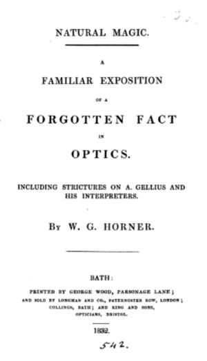 William George Horner - Frontpage of Horner's 1832 pamphlet on optics