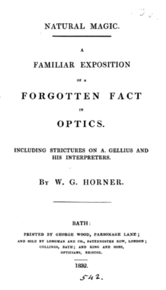 William George Horner - Frontpage of Horner's 1832 pamphlet on optics