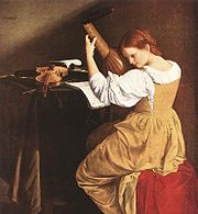Orazio Gentileschi's young lutenist, painted ca 1626, plays a 10-course lute, typical of the time from around 1600 AD through the 1630s. Music stands appear very rarely in paintings of the period — the music is most commonly laid flat on a table, as seen here.