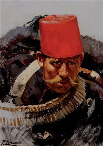 Fez - Ottoman Soldier during the Battle at Domokos by Fausto Zonaro.