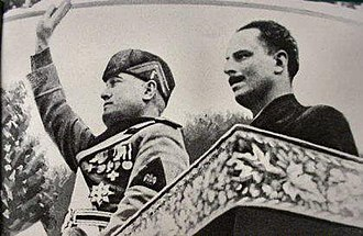 British Union of Fascists - Italy's Duce Benito Mussolini (left) with Leader Oswald Mosley (right) during Mosley's visit to Italy in 1936.