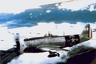 201st Fighter Squadron (Mexico) - P-47D Thunderbolt using both USAAF and FAM insignia (right wing and tail)