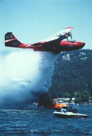 Aerial firefighting - A Consolidated PBY Catalina amphibious flying boat air tanker
