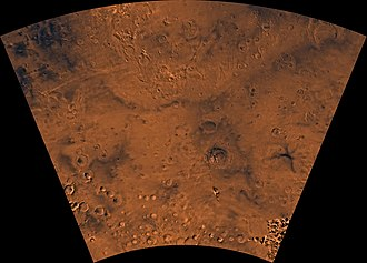 Thaumasia quadrangle - Image of the Thaumasia Quadrangle (MC-25). The northern part includes Thaumasia plateau. The southern part contains heavily cratered highland terrain and relatively smooth, low plains, such as Aonia Planum and Icaria Planum.  Parts of Solis Planum, Aonia Terra, and Bosporus Planum are also found in this quadrangle.  The east-central part includes Lowell Crater.