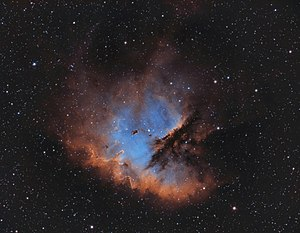 NGC 281 - NGC 281 in the classic Hubble Palette (Ha/OIII/SII) by amateur astronomer Chuck Ayoub