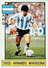 c00b70106 Trading card of Maradona (with the captain s armband) issued by Panini for  the 1986 World Cup