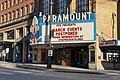 Paramount Theatre in Seattle with postponement marquee, March 2020.jpg
