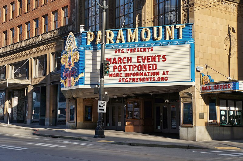 File:Paramount Theatre in Seattle with postponement marquee, March 2020.jpg