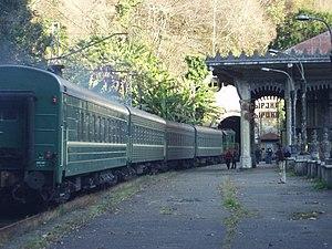Abkhazian railway - Image: Passenger train in Psyrtskha, Abkhazia