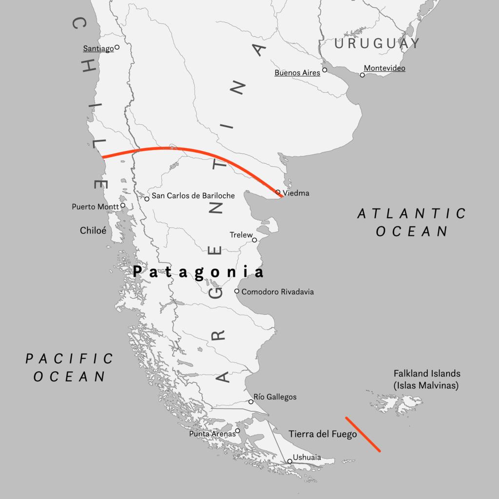 Cartina della Patagonia (Argentina e Cilena)
