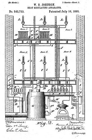 Warren S. Johnson - Patent Drawing for Heat Regulating Apparatus - Patent No. 542,733