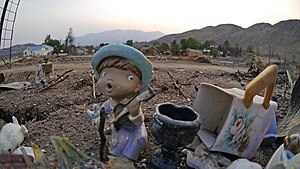 Pateros, Washington - Weeks after a wildfire in 2014 destroyed much of the town of Pateros, this was all that remained of several blocks that were burned down to the foundations.