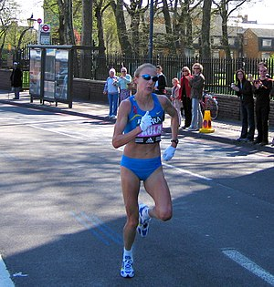 Paula Radcliffe - Paula Radcliffe leading the London Marathon in 2005, near to Limehouse in east London.