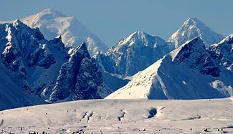 Alaska Range - Mount Hunt, Mount Huntington and other rugged peaks of the Alaska Range near Denali