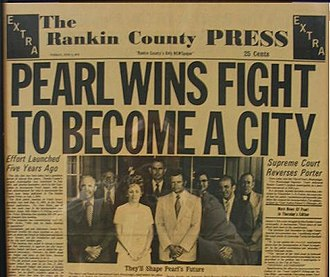 Pearl, Mississippi - The Rankin County Press headline from June 1973