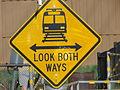Pedestrian warning sign (UTA).JPG