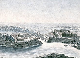 Pembina, North Dakota - Fort Daer of the HBC and across the Pembina River on the right old Fort Pembina built by the NWC (painted by Peter Rindisbacher in 1822 )