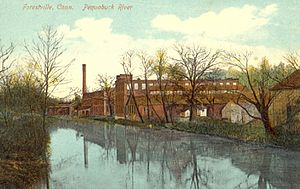 Pequabuck River - Early 20th-century postcard portraying the Pequabuck River in Forestville, Connecticut