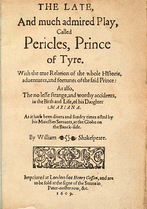 Pericles, Prince of Tyre - The 1609 quarto edition title page.